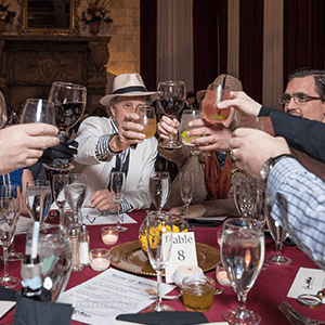 Las Vegas Murder Mystery guests raise glasses